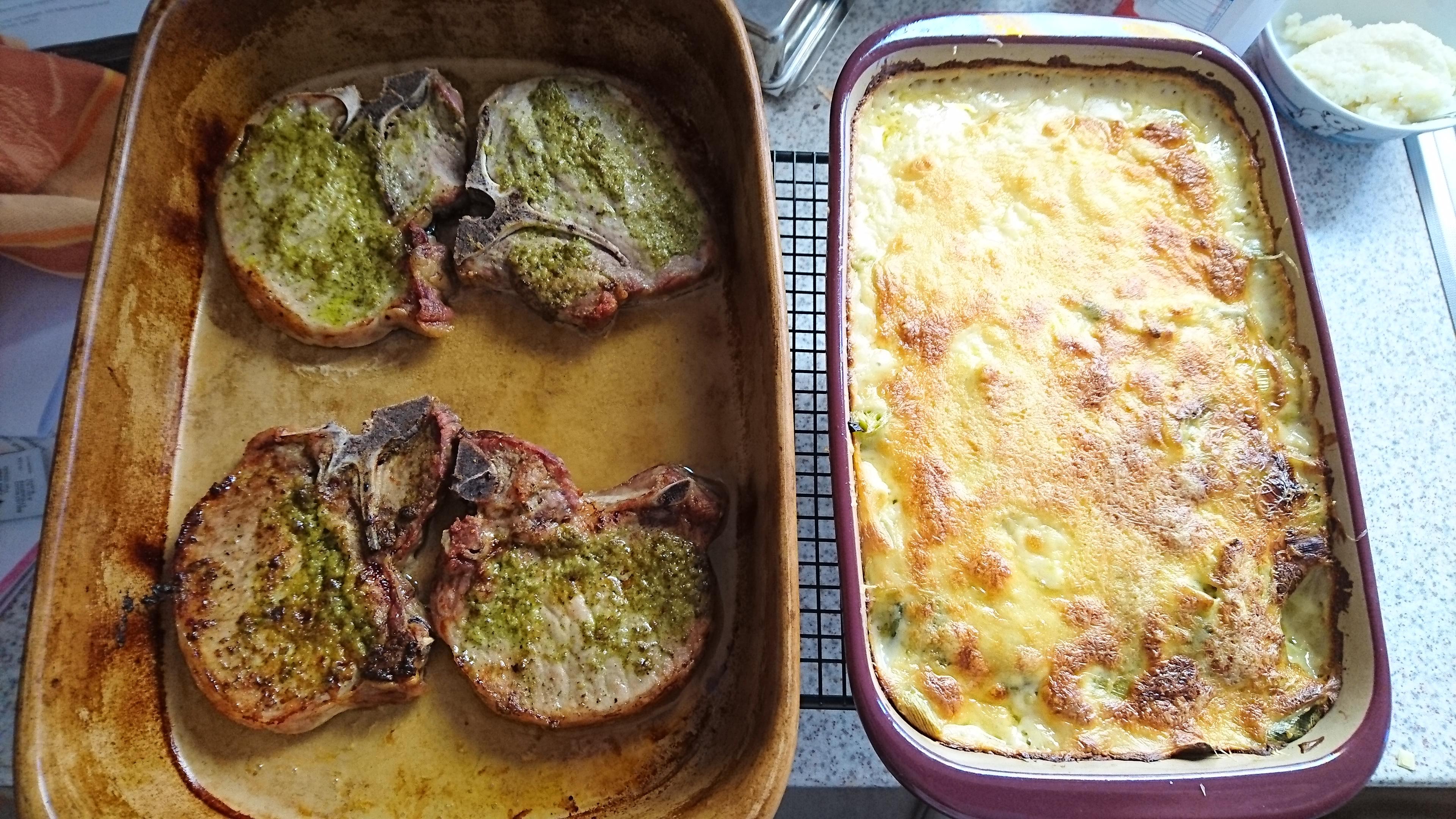 Kartoffel-Porree-Gratin aus der mittleren Ofenhexe