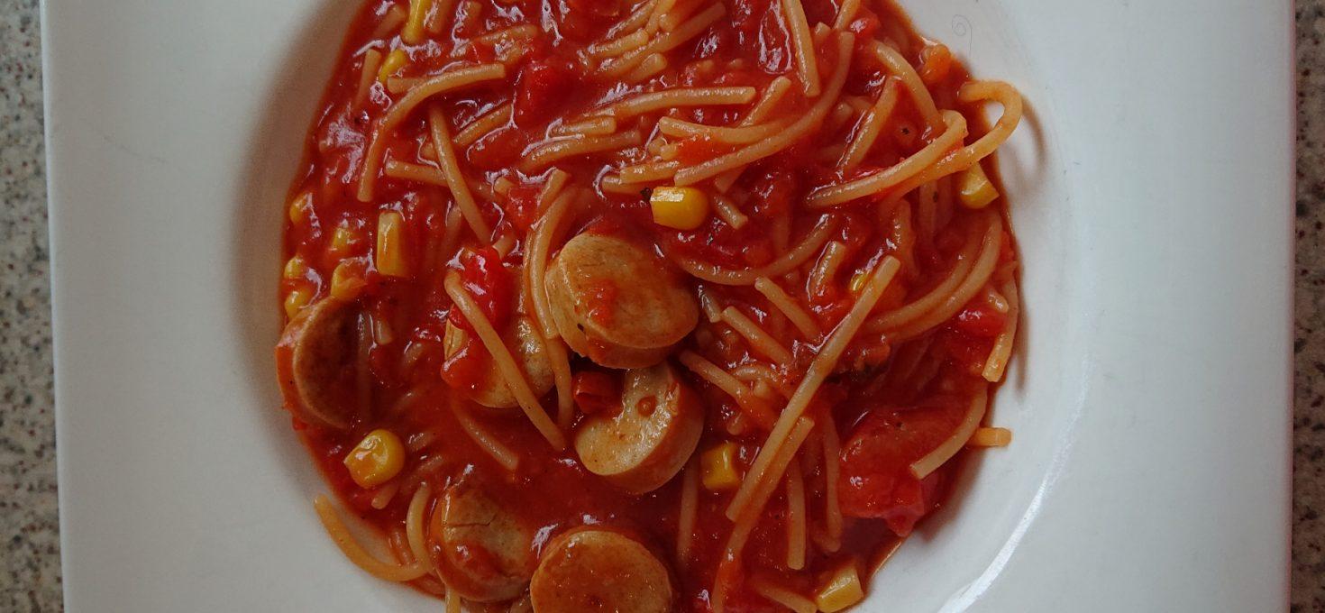 Wursttopf mit Spaghetti